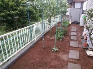 境界土留めブロックの施工完了