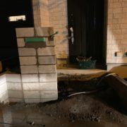 門柱のブロック積み込み後