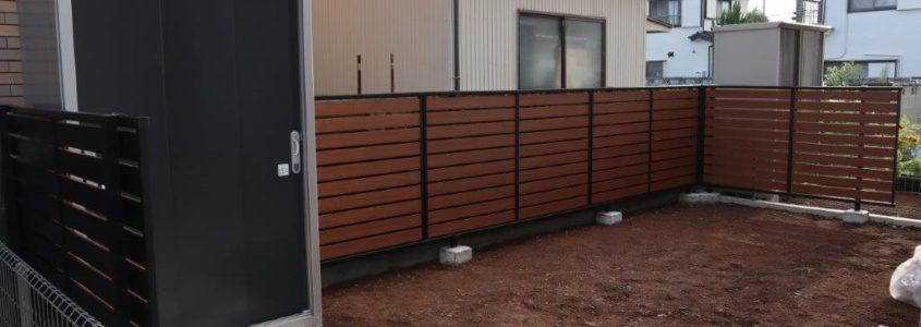 目隠しフェンスと物置の設置工事